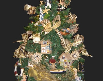 Royal Nautical Christmas Tree, 6ft Tall shipped fully decorated