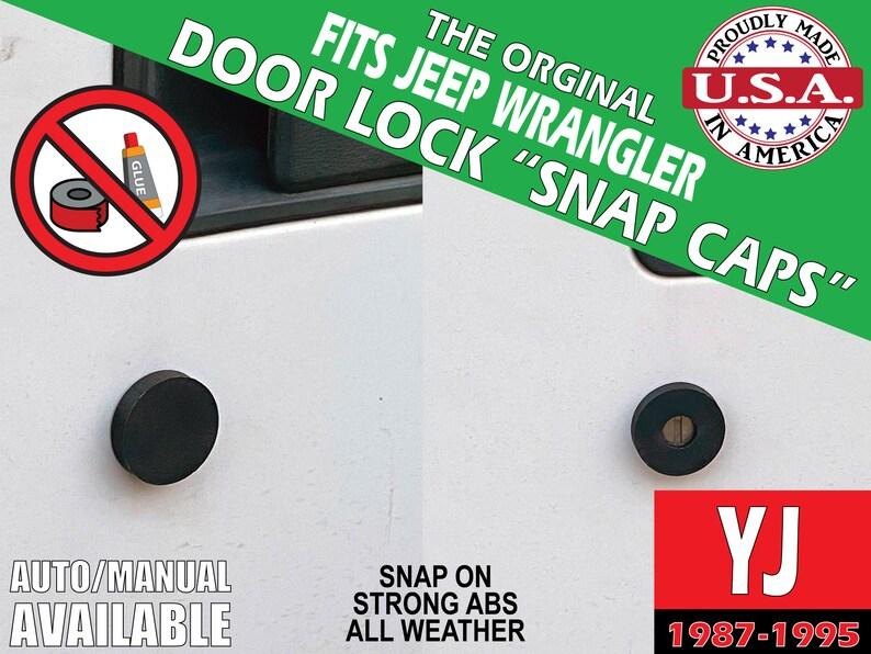 Fits Jeep Wrangler YJ Door Lock Snap Caps image 0