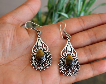 Hippie Earring Boho Jewelry Indian jewelry Chic Earring Handcrafted jewelry Tiger Eye Gemstone Earring Boho Earring Jaipurbohojewelry