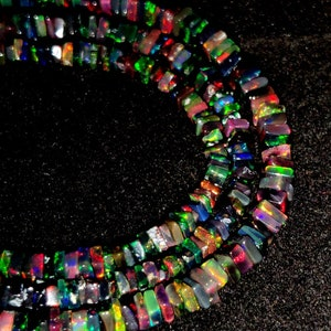 BLACK ETHIOPIAN OPAL Beaded Necklace 42Ct Natural Welo Fire Opal Cabochon Rondelle 1 Line Strand Beads Jewelry  mm Size Necklace 4x23x1