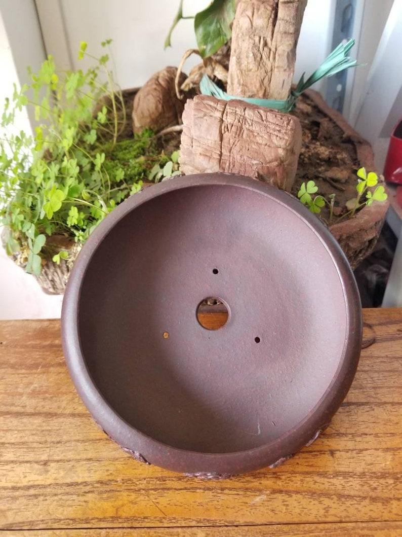 Bonsai pot China Yixing purple sand ancient red clay flower pot retro bonsai pot handmade pattern home garden landscaping bonsai pot