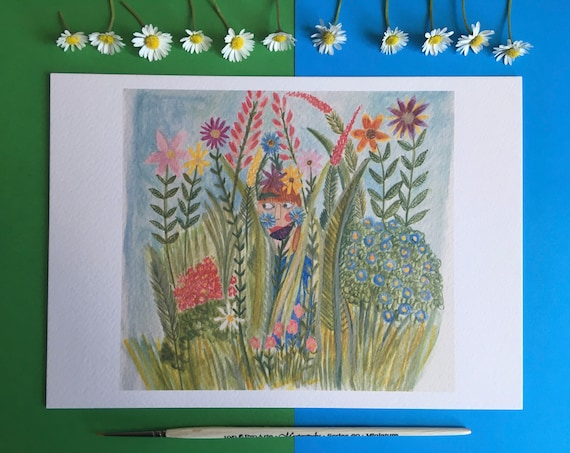 A5 print of original illustration, I'll just be in the garden..