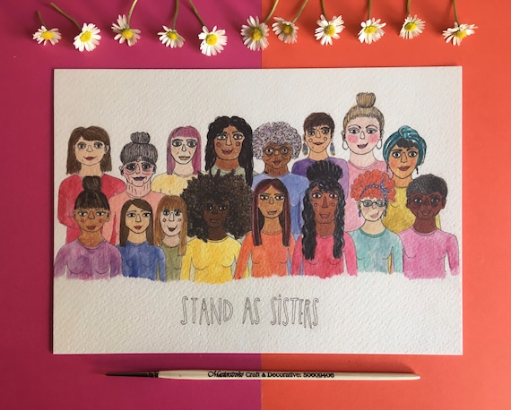 A5 print of original illustration, Stand as Sisters.