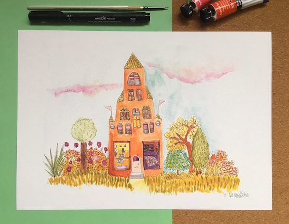 House with many rooms. A4 Colour print