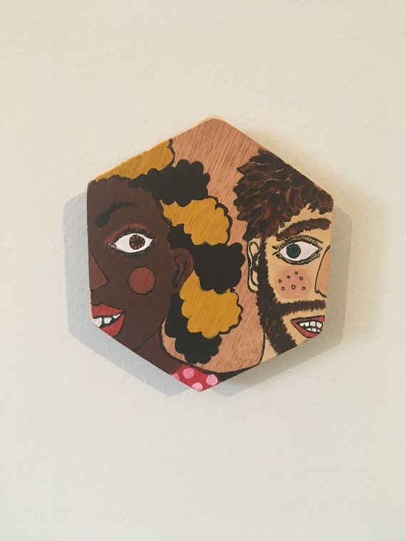 Acrylic painting on plywood. Title: The Look of Love
