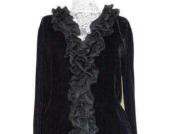 The Curly Fringe Jane SZ S 60s Black Velvet Evening Blouse