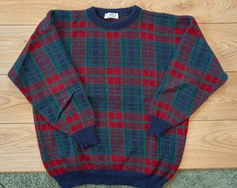 Le Laureat, Men's, Wool, Multicolor, Check, Plaid Pattern, Sweater, Pullover, Size L, Made in France