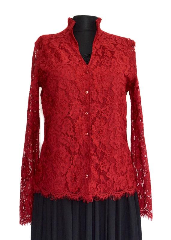 Naracamicie  Lace Guipure Red Women's Top, Shirt,