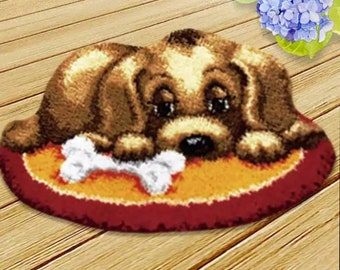 DIY Latch Hook Rug Kit Two Labrador Dogs Carpet Mat Cushion Cross Stitch Tool