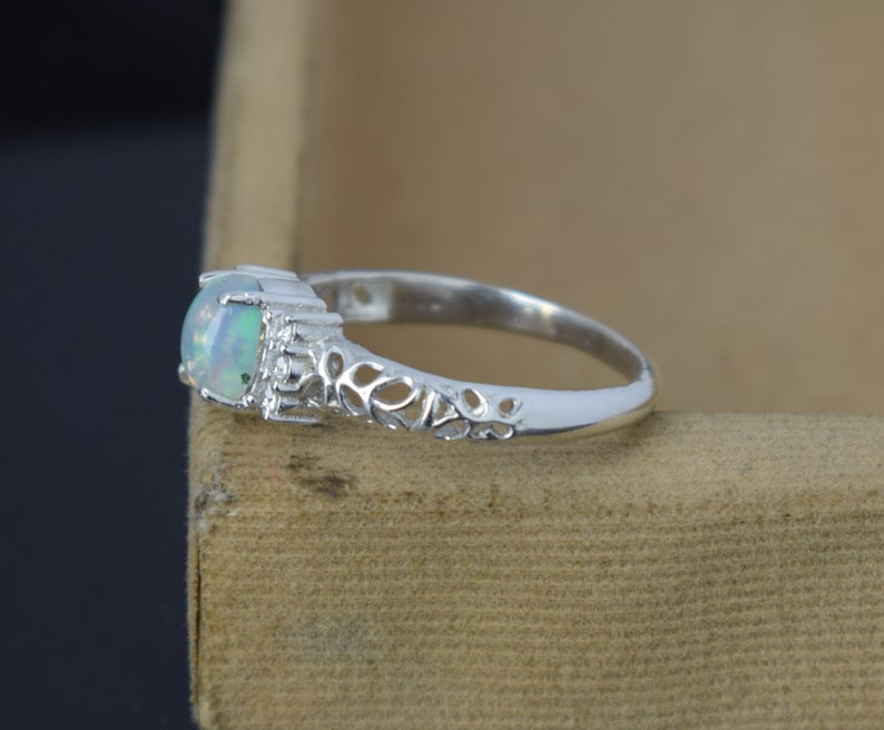 Opal Promise Ring for Women Moonkist Creations Sterling Silver Opal Ring October Birthstone Oval Opal Ring White Opal Ring Silver