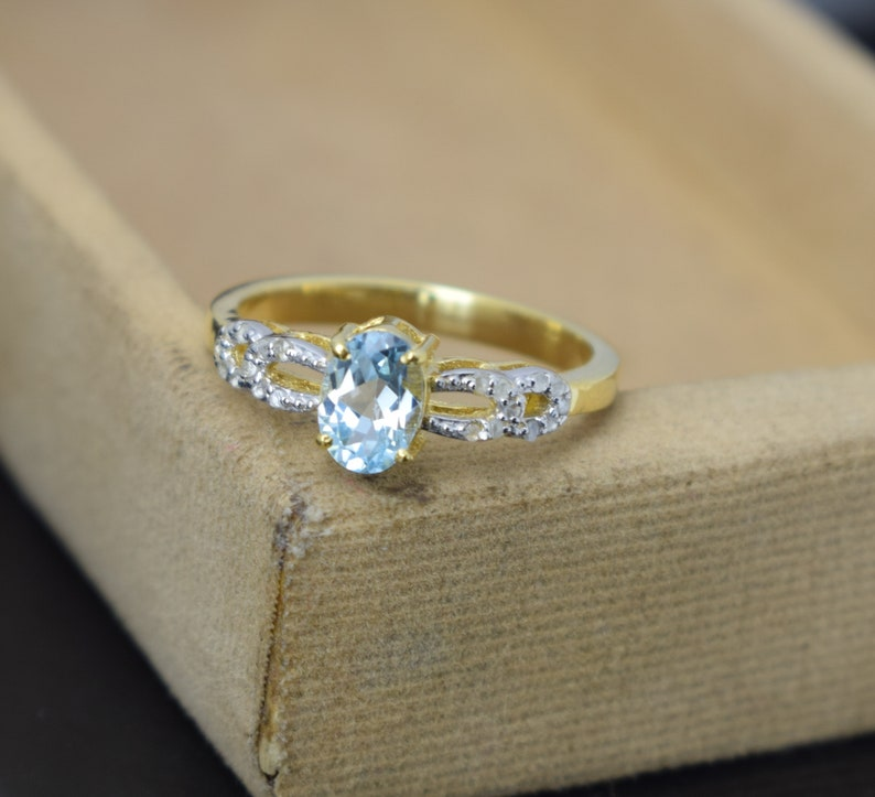 victorian ring 925 sterling silver ring blue topaz pave diamond ring