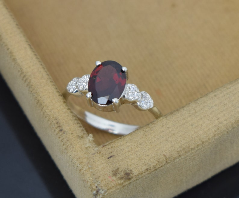 natural garnet ring silver engagement ring for woman oval cut red gemstone January birthstone ring