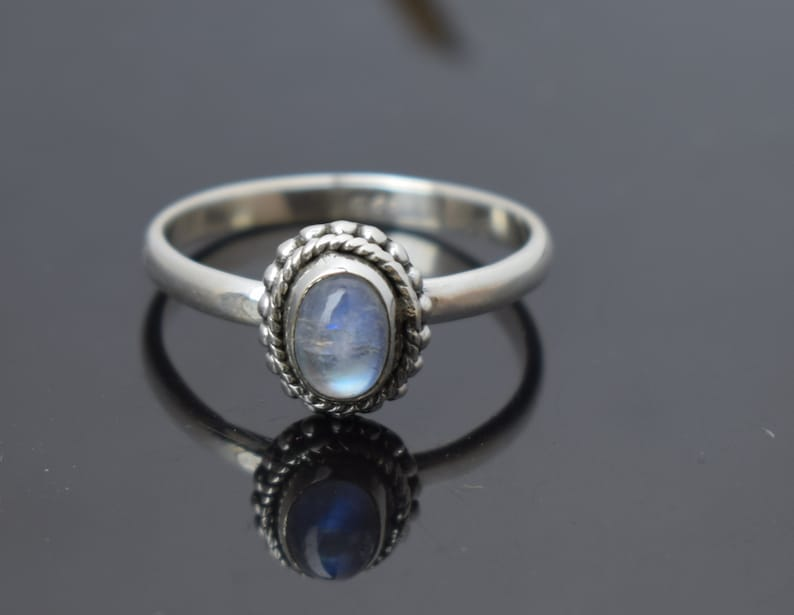 Promise Ring Birthday Gift for Her Beautiful Rainbow Moonstone boho Ring Rainbow Moonstone Boho Ring Sterling Silver Ring