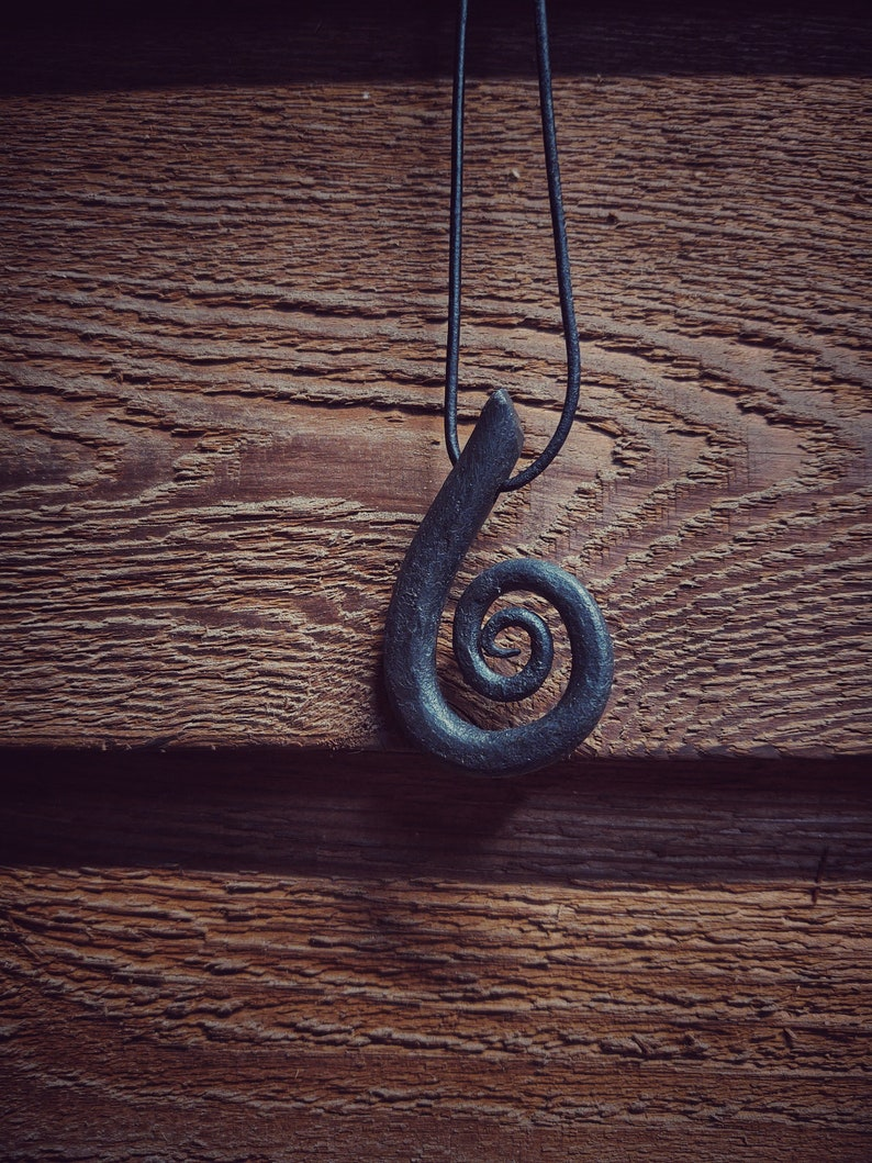 Hand Forged Spiral Pendant with Adjustable Leather Cord