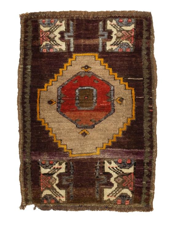 Vintage Turkish Decorative Mini Rug 1.11 x 2.11