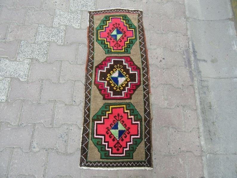 Decorative Unique Vintage Mini Turkish Rug 1.4 x 3.8 ft