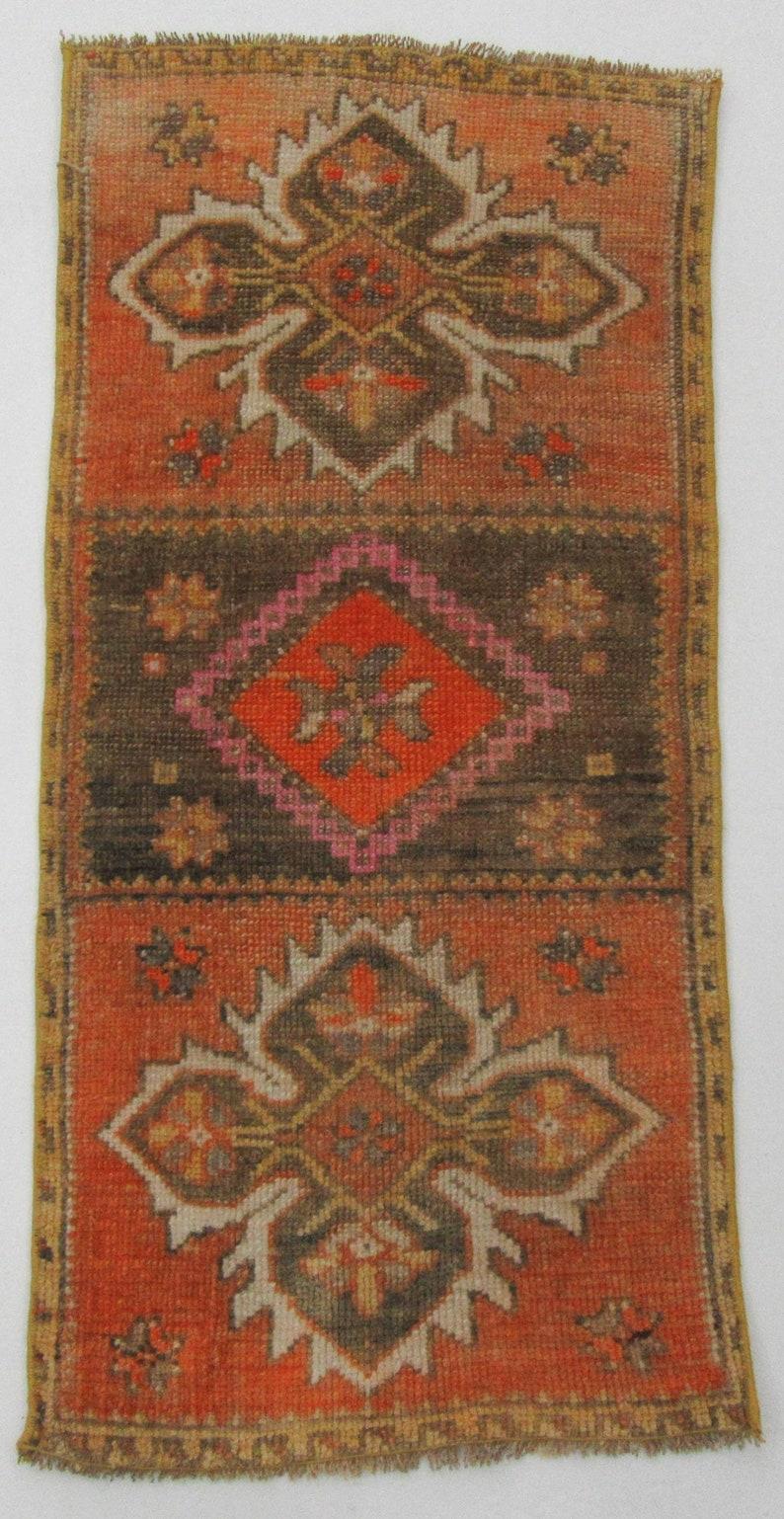 1.7 x 3.4 Unique Vintage Wool Mini Rug