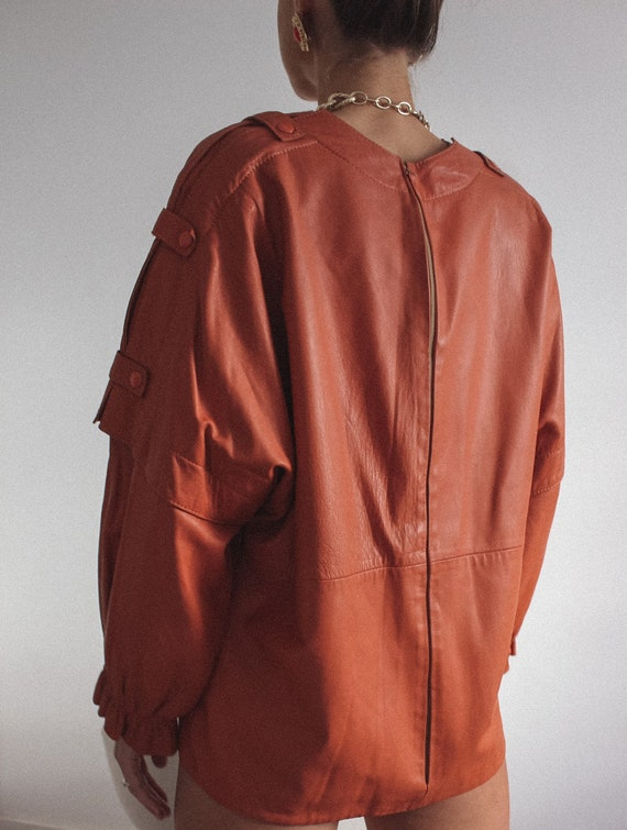 Leather Mustard Color Jacket/ Blouse, Genuine Lea… - image 3