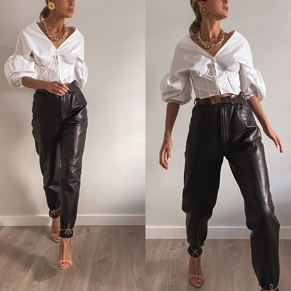 Vintage Leather Pants, Brown Leather Trousers, Wom