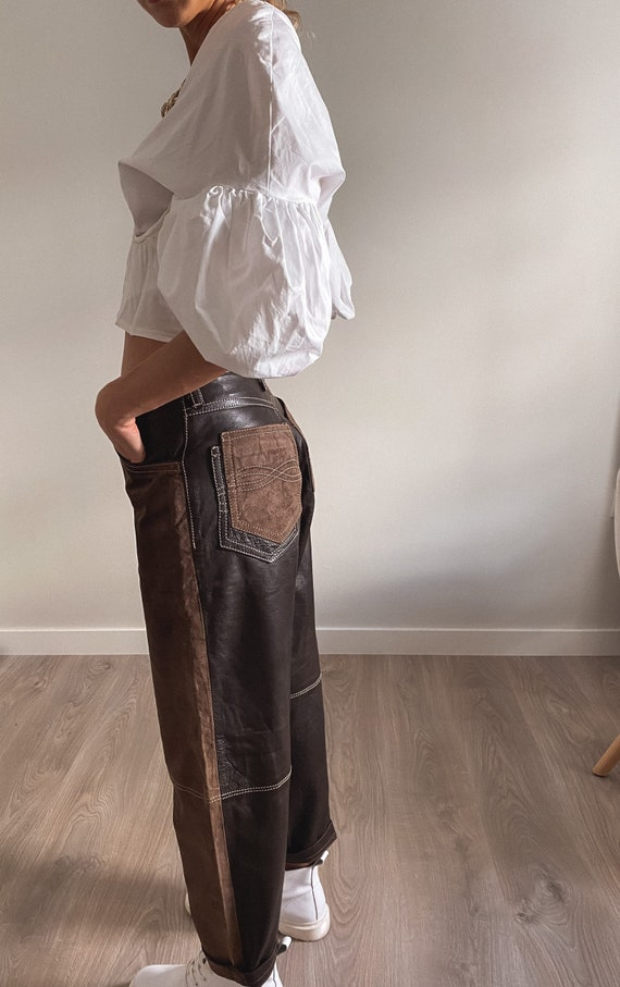 Vintage Leather Pants, High Waisted Suede Pants, W