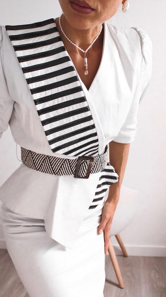 VINTAGE Leather Blouse, Black and White Shirt, Le… - image 7