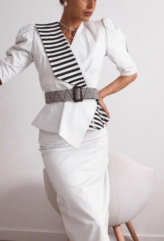 VINTAGE Leather Blouse, Black and White Shirt, Le… - image 2