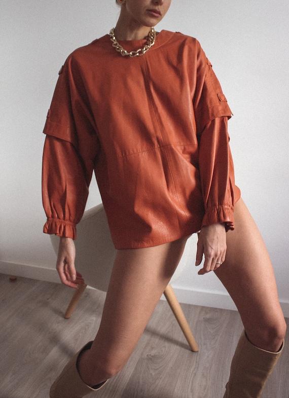 Leather Mustard Color Jacket/ Blouse, Genuine Lea… - image 2
