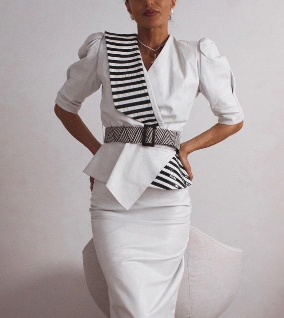 VINTAGE Leather Blouse, Black and White Shirt, Le… - image 1