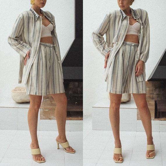 Vintage Linen Women Suit, 80s Linen Jacket & Shor… - image 7