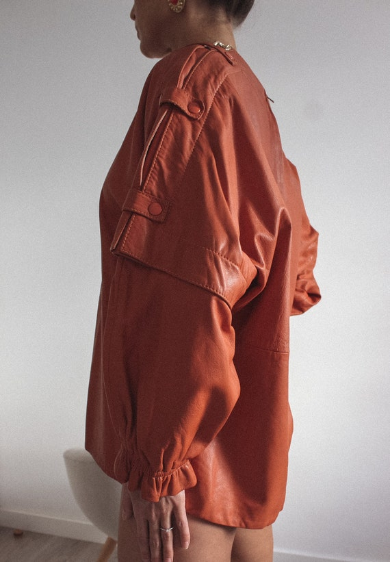 Leather Mustard Color Jacket/ Blouse, Genuine Lea… - image 6