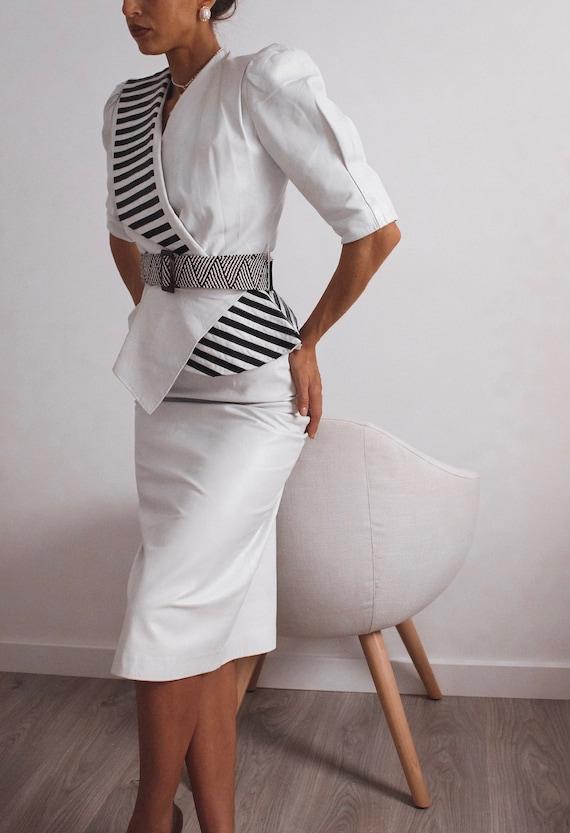 VINTAGE Leather Blouse, Black and White Shirt, Le… - image 6