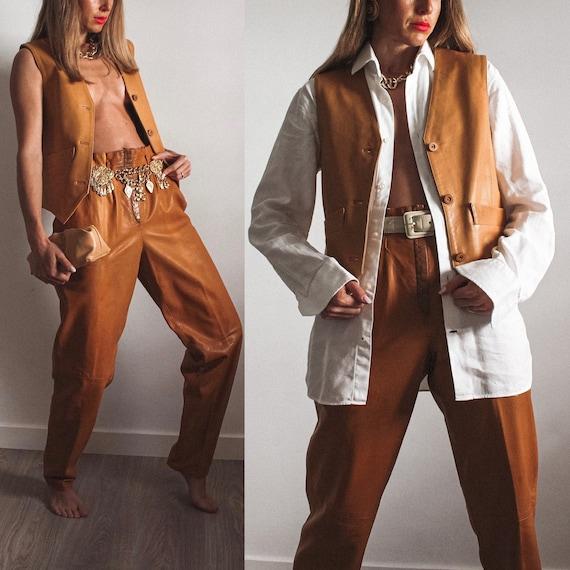 Vintage Leather Waistcoat, Vintage Vest, Leather W