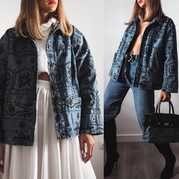 Vintage Denim Jacket, Embroidered Denim Jacket, Ch