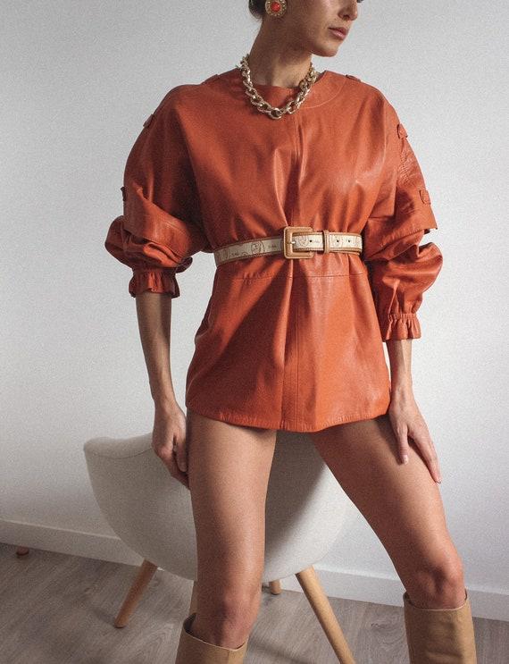 Leather Mustard Color Jacket/ Blouse, Genuine Lea… - image 1
