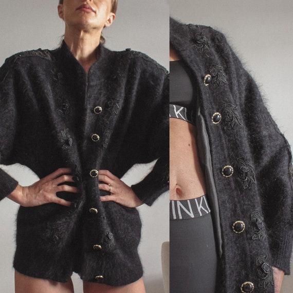 Vintage Angora Cardigan, 80s Angora Black Sweater