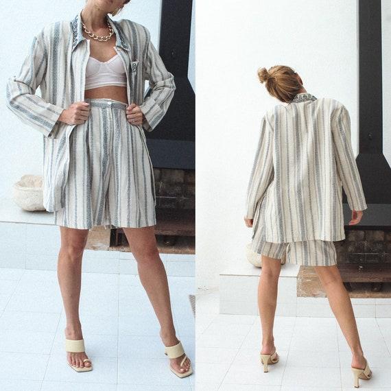 Vintage Linen Women Suit, 80s Linen Jacket & Shor… - image 3