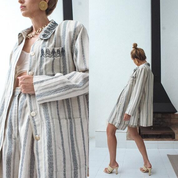 Vintage Linen Women Suit, 80s Linen Jacket & Shor… - image 4