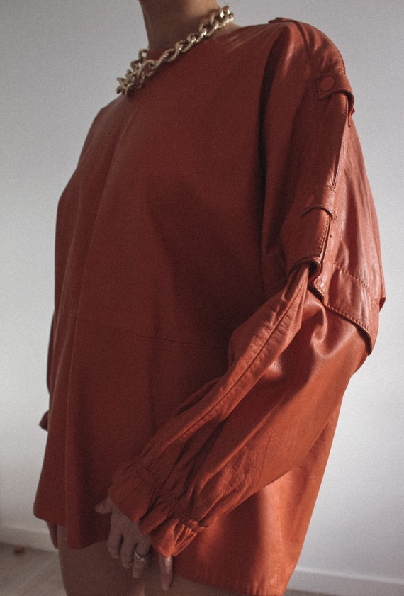 Leather Mustard Color Jacket/ Blouse, Genuine Lea… - image 5