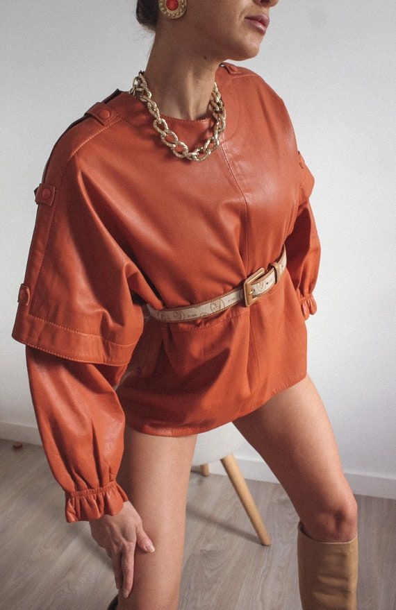 Leather Mustard Color Jacket/ Blouse, Genuine Lea… - image 7
