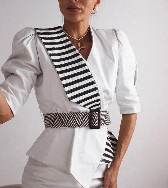 VINTAGE Leather Blouse, Black and White Shirt, Le… - image 3