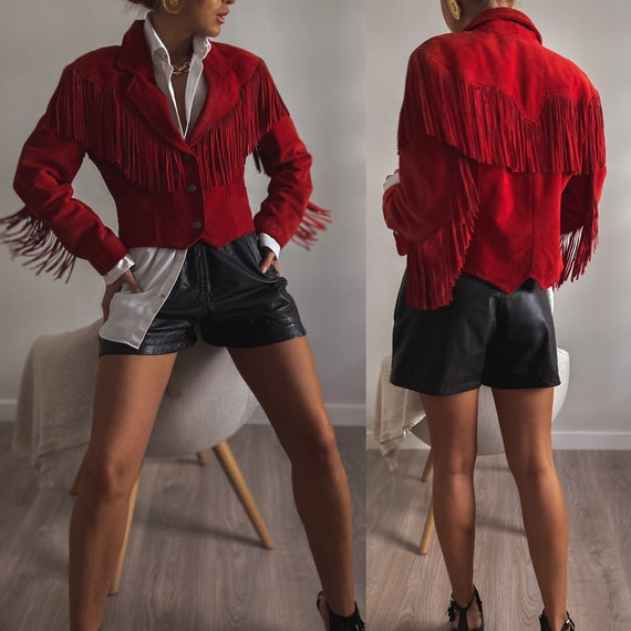 Vintage Suede Fringe Moto Jacket, Womens Cropped L