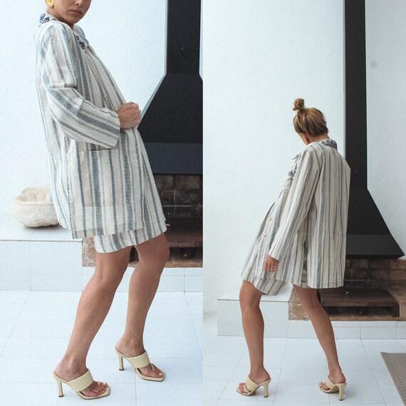Vintage Linen Women Suit, 80s Linen Jacket & Shor… - image 5