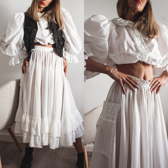 Vintage Cotton White Skirt Suit, White Cotton Hand