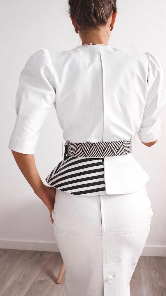 VINTAGE Leather Blouse, Black and White Shirt, Le… - image 4