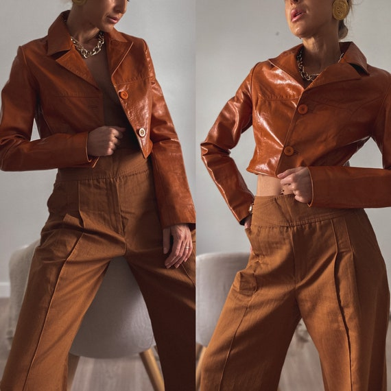 Crop Leather Blazer