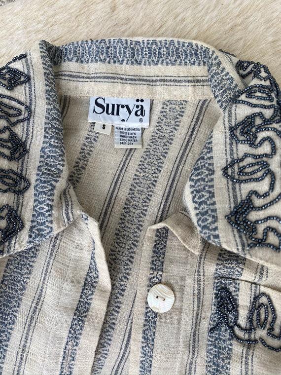 Vintage Linen Women Suit, 80s Linen Jacket & Shor… - image 9