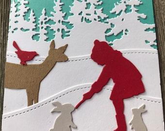 Winter holiday scene - Happy Holidays - greeting card