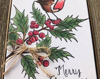 Bird Holly Tree Christmas Card | Handmade