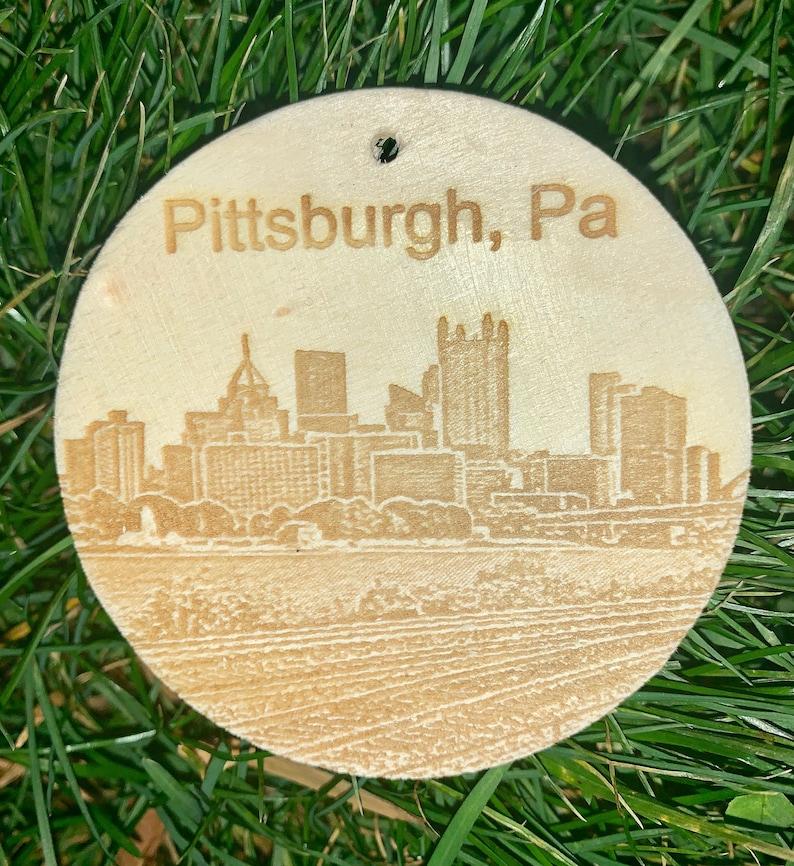 YinzLidz Pittsburgh Keepsake Wooden  Leather OrnamentBag tag