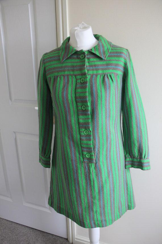 Vintage 1960's green striped Dollyrockers dress